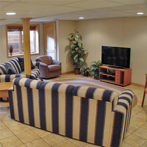 A Finished Basement Living Room Area in Chandler, IN and KY