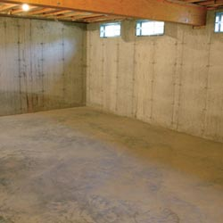 A cleaned out basement in Henderson, shown before remodeling has begun