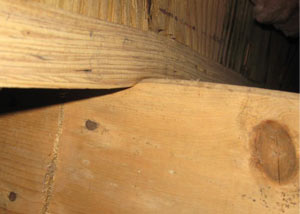 A failing girder showing signs of compression damage in a Indiana and Kentucky home