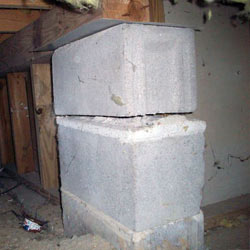 Collapsing crawl space support pillars Petersburg