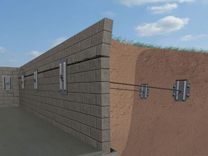 A graphic illustration of a foundation wall system installed in Morganfield