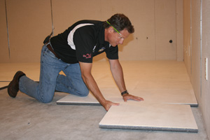 Insulated basement subfloor installation in Owensboro