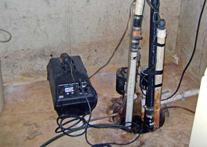 Pedestal sump pump system installed in a home in Spottsville