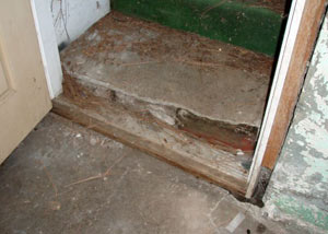 A flooded basement in Philpot where water entered through the hatchway door