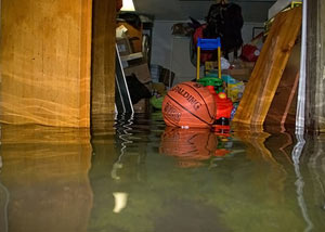 A flooded basement bedroom in Rockport