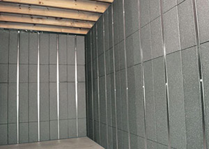 SilverGlo™ insulation and metal studs making up our Basement to Beautiful panels.  Installed in Vincennes.