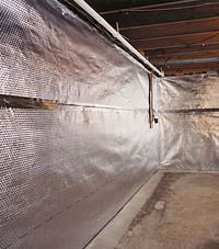 Radiant heat barrier and vapor barrier for finished basement walls in Sheperdsville, Indiana and Kentucky